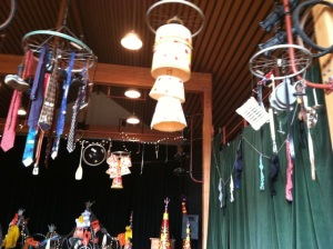 Bike tire rims, lamp shades, neckties...you name it, they chandeliered 'em. (All photos courtesy Anne Whirledge-Karp)