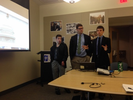 Upper School Students For A Working Democracy presenting to the Friends General Council on Legislation in DC