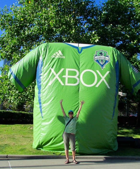 """So my green T-shirt says """"Lopez Fun Run,"""" not """"XBox."""" At least mine was free!"""