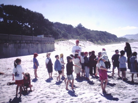 Son One on a beach field trip with his First Form class.