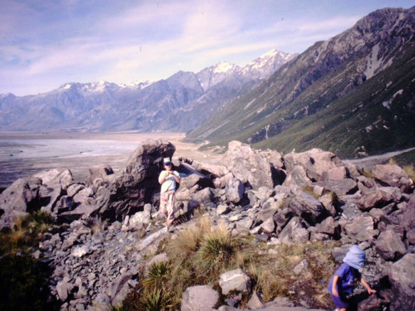 ...and around the feet of Mt. Cook, NZ's highest peak. (Saw wild parrots here!)