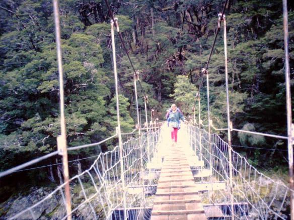 ...and across some pretty iffy bridges. (I had to piggyback the boys across; they didn't like the bouncing.)