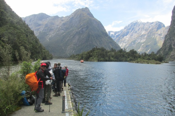 Hurry up, boat! (That's Milford Sound: suddenly, salt water!)